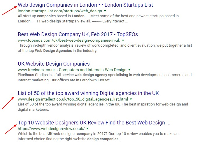 list of web design companies in London - Google search results page