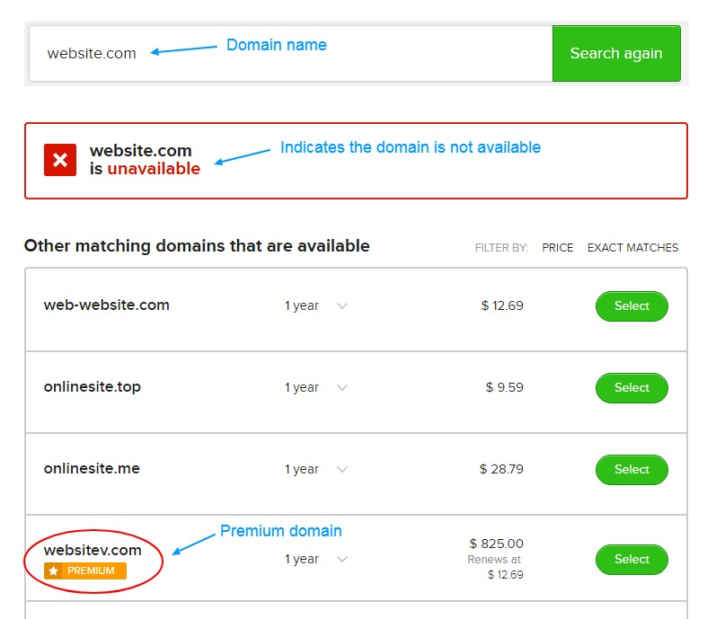 domain availability results page with options