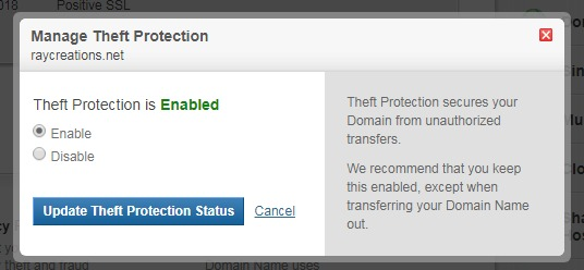 manage theft protection - domain security