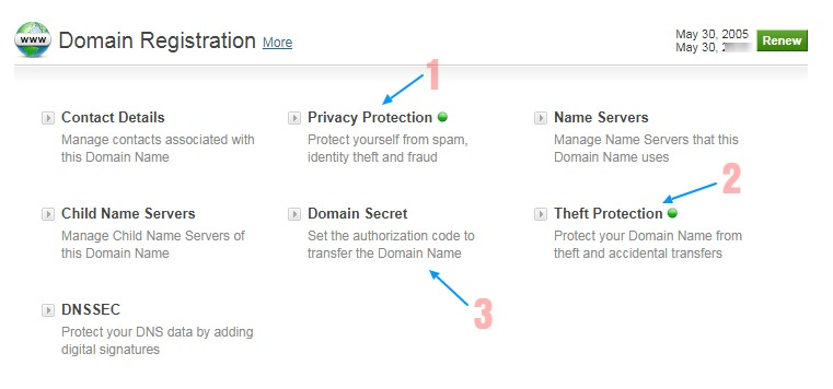 domain security options